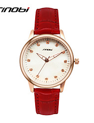 SINOBI® Ladies Fashion Wrist Quartz Watch Red Leather Rose Gold Case Women Watches Brands Wristwatches Relogio Cool Watches Unique Watches