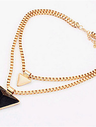 New Arrival Fashion Jewelry Double Triangle Gem Necklace