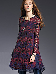 Women's Delicate Graceful Round Long Sleeve Loose Lace Dress