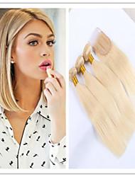 4pcs / lot à bas prix # 613 blondes brésiliens vierges soyeux cheveux raides faisceaux de cheveux humains avec lacet de fermeture sans