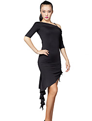 Latin Dance Dresses Women's Training Milk Fiber Side-Draped 2 Pieces Black Latin Dance Dress / Shorts