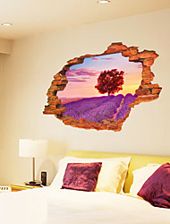 3D Wall Stickers Wall Decals Style Romantic Lavender Waterproof Removable PVC Wall Stickers