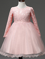 Ball Gown Knee Length Flower Girl Dress - Lace Tulle Long Sleeves Jewel Neck with Draping