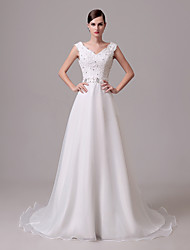 A-line Wedding Dress Court Train Off-the-shoulder Crepe with Beading / Button / Embroidered / Lace / Ruffle
