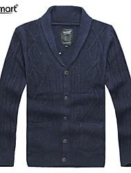 Lesmart Hombre Escote en Pico Manga Larga Suéter y Cardigan Negro / Caqui / Azul Oscuro - CX13136