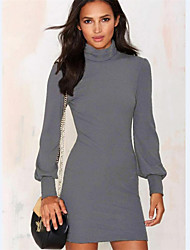 Women's Solid Red / Gray Dress , Sexy / Casual Turtleneck Long Sleeve