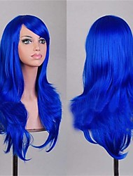 2016 Beauty Product 70 cm Cosplay Wigs Cheap Full Synthetic Wigs Blue Color
