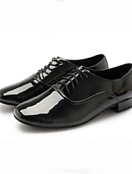 Non Customizable Men's Dance Shoes Patent Leather Patent Leather Modern Heels Chunky Heel Professional / Performance Black