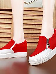 Scarpe Donna - Sneakers alla moda - Ufficio e lavoro / Formale / Casual - Comoda - Piatto - Di corda - Nero / Rosso