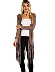 Women's Solid Brown Wrap , Cowl Long Sleeve