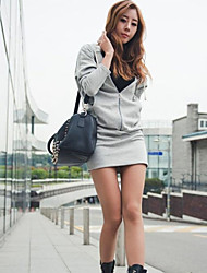 Women's Solid Black / Gray Dress , Casual Round Neck Long Sleeve