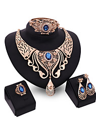 Women Wedding Jewelery Bridal Dinner Party Water Droplet Blue Crystal Necklace Bracelet Rings Earrings Four - piece