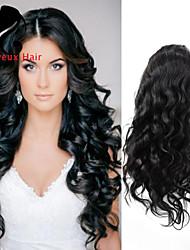 """8 """"24"""" peluca delantera completa la onda del cuerpo del pelo brasileño virginal de frente full pelucas mujeres negras gueless de cabello"""