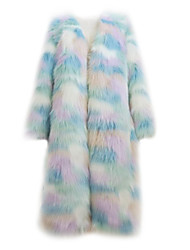 Fur Coat Fashion Long Sleeve Collarless Faux Fur Party/Casual Coat