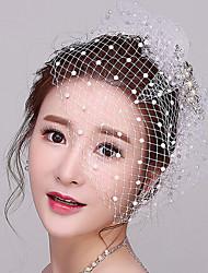 Graceful Rhinestone / Net Headpiece - Wedding / Special Occasion Fascinators / Birdcage Veils with Imitation Pearl