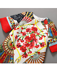 Girls Flower Print Party Pageant Princess Baby Children Clothes Dresses