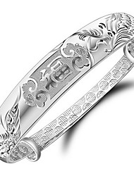S925 Pure Stering Silver China Dragon and Phoenix Lucky Adjustable Bangle Bracelet Jewelry