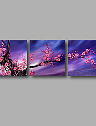 "Ready to Hang Stretched Hand-painted Oil Painting 72""x24"" Three Panels Canvas Wall Art Pink Blossom Blue"