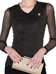 Women's V Neck Long Sleeve Lace Sexy Purl Splicing Sexy OL Party Blouse T-Shirt Blouse Tops