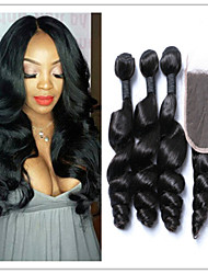 4Pcs/Lot Peruvian Hair Weave Loose Wave Virgin Hair Bundles With Top Lace Closure Human Hair Weft