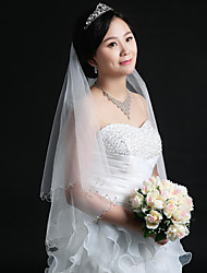 Wedding Veil Two-tier Blusher Veils / Fingertip Veils Cut Edge / Beaded Edge With Comb