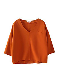 Women's Solid White / Black / Orange Blouse , V Neck Long Sleeve