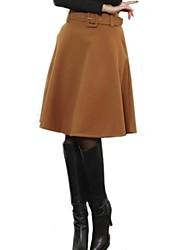 Frauen Tweed einfarbigen Rock mit Gürtel (weitere Farben)