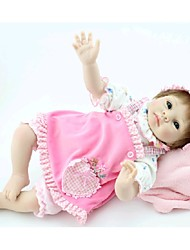 NPKDOLL Reborn Baby Doll Soft Silicone 22inch 55cm Magnetic Mouth Lovely Lifelike Cute Boy Girl Toy Pink Apron