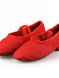 Non Customizable Kids' Dance Shoes Ballet Canvas Flat Heel Multi-color