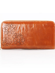 Women 's Oil Wax Genuine Leather Large capacity Clutches Wallet Fashion Carved Zipper Handbags