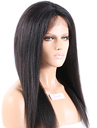 "Unprocessed 10""-26"" Virgin Brazilian Natural Color Yaki Straight Full Lace Wig Human Hair Lace Front Wigs"