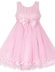 Girl's Pink Flower Multi-layers Tulle Party  Pageant Wedding Baby Clothes Dresses