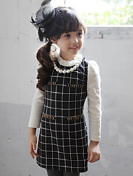 Girl's Spring / Fall Cotton Sequin Long Sleeveed  Lattice  Splice  Dress