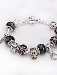 Women jewelry 925 Sterling Silver bracelet Murano Glass Crystal European Beads Strand Beads heart Charm Bracelets BLH018