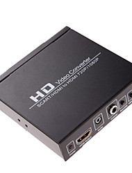 HD Video Converter HDMI or Scart to HDMI Output 720P 1080P Audio Coaxial Output PAL/NTSC Button