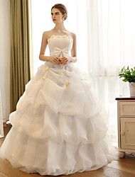 A-line Wedding Dress Vintage Inspired Floor-length Strapless Organza Satin with Bow Flower