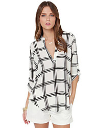 Women's Print V Neck ¾ Sleeve Loose Casual Vintage Comfort Hin Thin Shirt