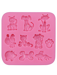 BIrds/Cat/Fish/Piggie Square Silicone 3D Mold Cookware Dining Bar Non-Stick Cake Decorating Fondant Mould Tools SM-048