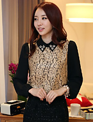 Women's Elegant OL Beaded Laepl Lace Splicing Loose Shirt