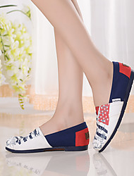 Women's Shoes Canvas Flat Heel Comfort / Square Toe / Closed Toe Loafers Casual Multi-color