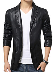 Men Faux Leather Outerwear , Belt Not Included