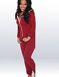 Women's Solid Red Jumpsuits Hooded Long Sleeve