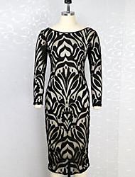 Robe Aux femmes Moulante Vintage , Imprimé Col Arrondi Midi Polyester
