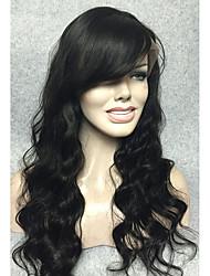 peruca frente macia brasileira frente peruca de cabelo natural, ondulado corpo negro cerca de 14- 24inches frete grátis
