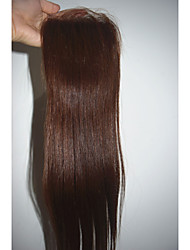 Full Lace / Hand Tied Straight Human Hair Closure Medium Brown Swiss Lace gram Cap Size