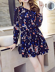 Women's Party/Cocktail Vintage Loose Dress,Print Round Neck Above Knee Long Sleeve Black Cotton Spring