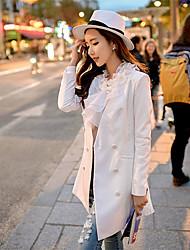 Mulheres Blazer Primavera,Sólido Azul / Branco Poliéster / Elastano Decote em V Profundo Manga Longa Média