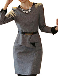 Women's OL Commuter Slim Waist Flod Tweed Plus Size Dress(with Strap)
