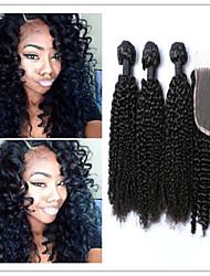 4pcs / lot afro crépus extensions de cheveux vierges papillotes mongol crépus bouclés armure de cheveux vierge fermeture en haut à