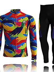 KEIYUEM Cyklodres a čapáky Dámské Unisex Dlouhé rukávy Jezdit na kole Cyklistické kalhoty Sady oblečeníVoděodolný Rychleschnoucí